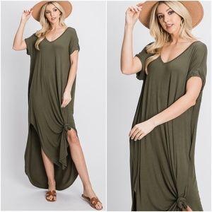 Boho Oversized Pocket V neck Slit Maxi Dress Olive